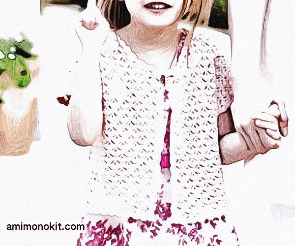 無料編み図ボレロ親子ペア可愛いかぎ針編み模様編み2