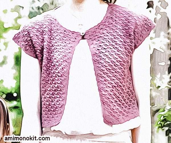 無料編み図ボレロ親子ペア可愛いかぎ針編み模様編み5