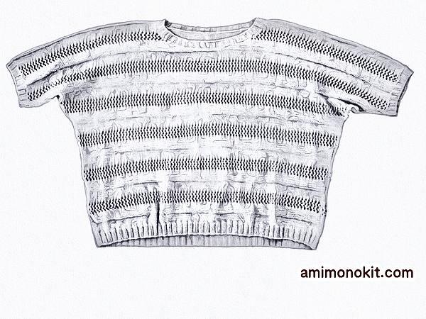 無料編み図サマーセーター棒針編みワイドな襟ぐり涼やか3