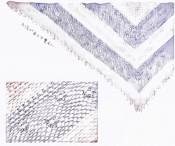 無料編み図ショール三角3