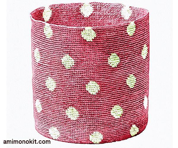 無料編み図バスケットかぎ針編み水玉模様カラフル2