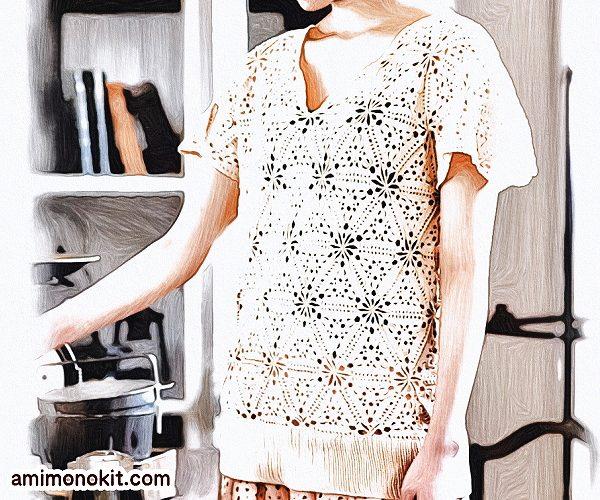 無料編み図プルかぎ針モチーフ編みセーター愛らしい三角1
