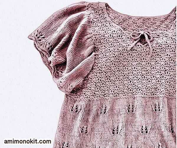 無料編み図プル可愛いフレアスリーブ落ち着きカラー1