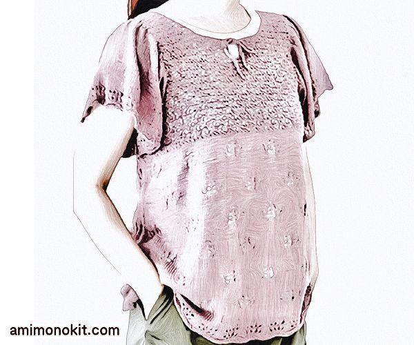 無料編み図プル可愛いフレアスリーブ落ち着きカラー5