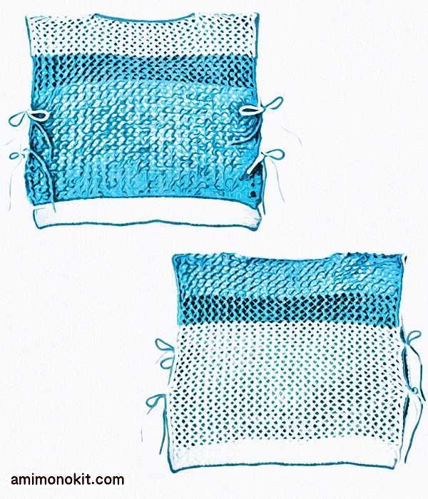 無料編み図プル透かし模様がエアリーなベスト初心者簡単3