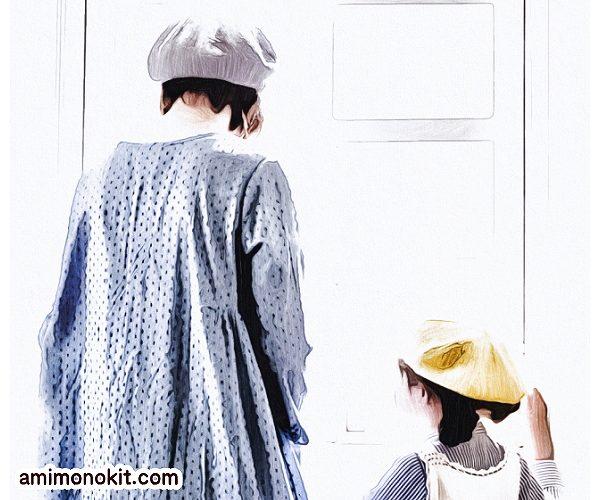 無料編み図親子ペア帽子ガーリーなベレー帽お揃いコーデ1