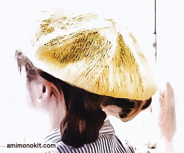 無料編み図親子ペア帽子ガーリーなベレー帽お揃いコーデ3