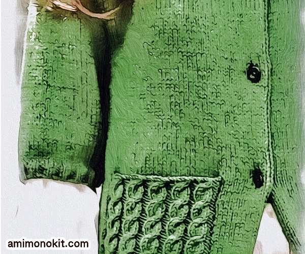 無料編み図カーディガン五分袖短めボレロタイプ縄編みポケット3