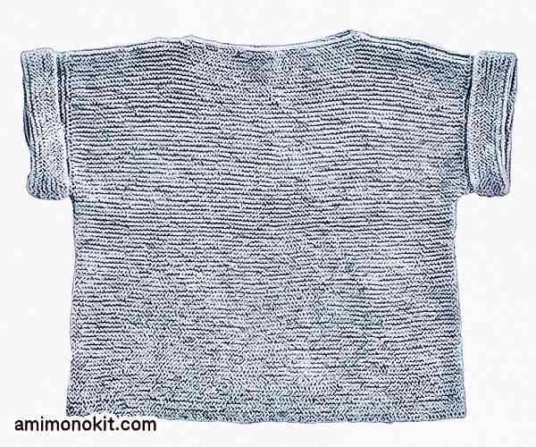 無料編み図プル棒針編みシンプル綿コットンレディース3