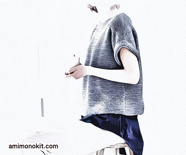 無料編み図プル棒針編みシンプル綿コットンレディース4