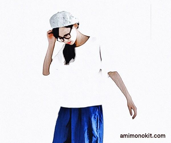 無料編み図帽子ベレー帽サマー夏ポップ3
