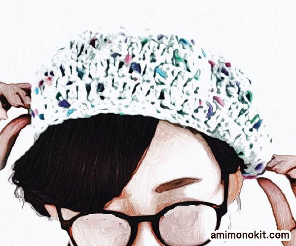 無料編み図帽子ベレー帽サマー夏ポップ1