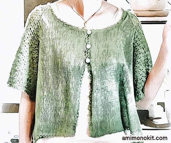 無料編み図カーディガン透かし編みラグラン袖五分袖2