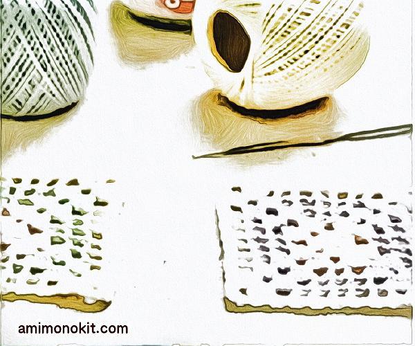 無料編み図コースター方眼模様モチーフ編み初心者レース糸1
