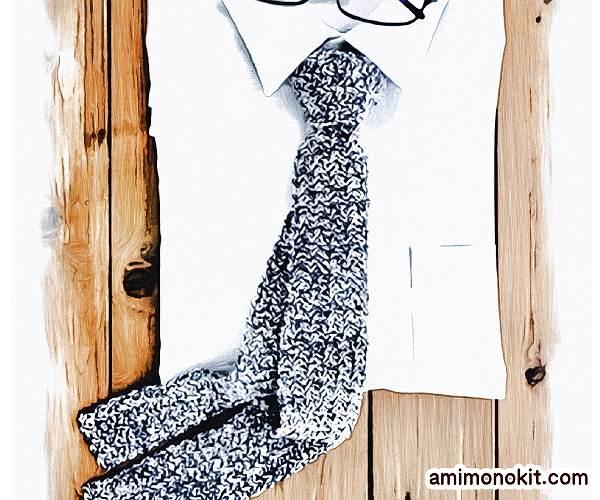 無料編み図Free Crochet Patternネクタイ父の日ニットタイ簡単シンプルでスタイリッシュ1
