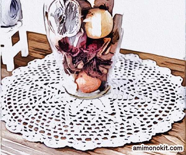 無料編み図ドイリー可愛らしいプレゼント贈り物簡単テーブル小物1