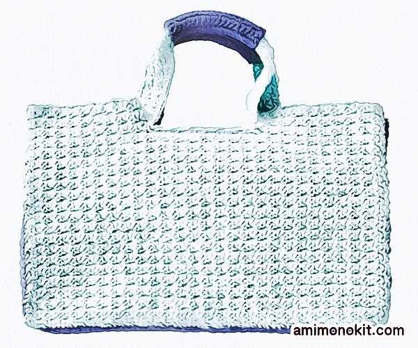 無料編み図夏バッグかぎ針編みスクエアタイプ丈夫3