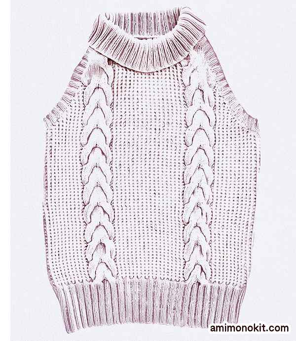 無料編み図ノースリーブ棒針編みケーブル模様小ぶりなネック5