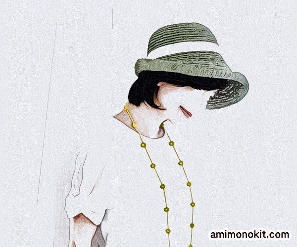 無料編み図女優帽つばのあるストローハットブリムに技あり1