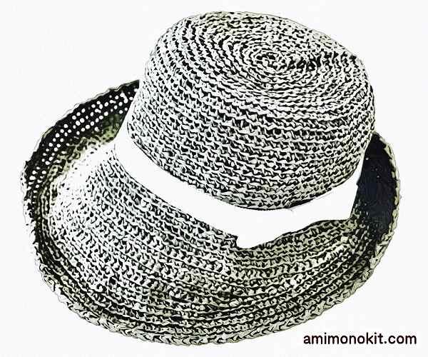 無料編み図女優帽つばのあるストローハットブリムに技あり3