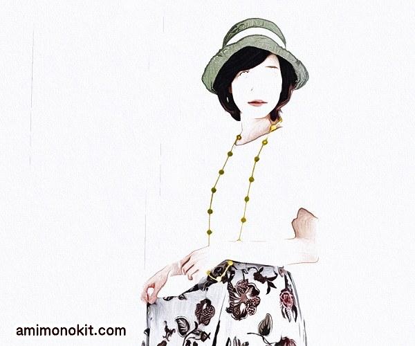 無料編み図女優帽つばのあるストローハットブリムに技あり4