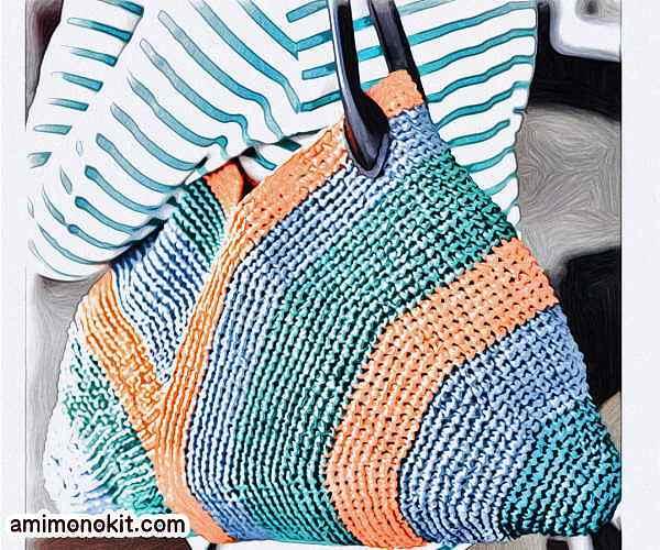 無料編み図夏バッグかぎ針編みエコバッグ持ち手3