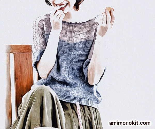 無料編み図プル肌見せコーデ女性らしいヌケ感棒針編み1