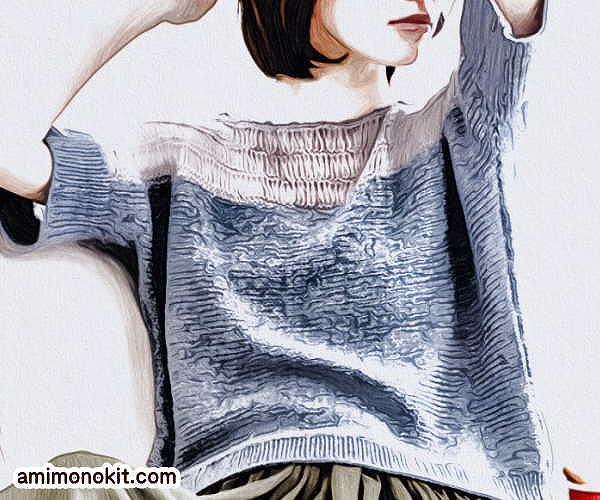 無料編み図プル肌見せコーデ女性らしいヌケ感棒針編み2