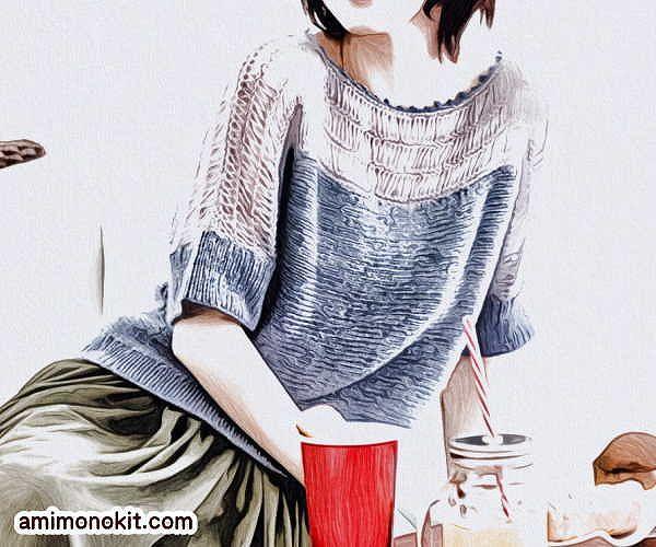 無料編み図プル肌見せコーデ女性らしいヌケ感棒針編み4