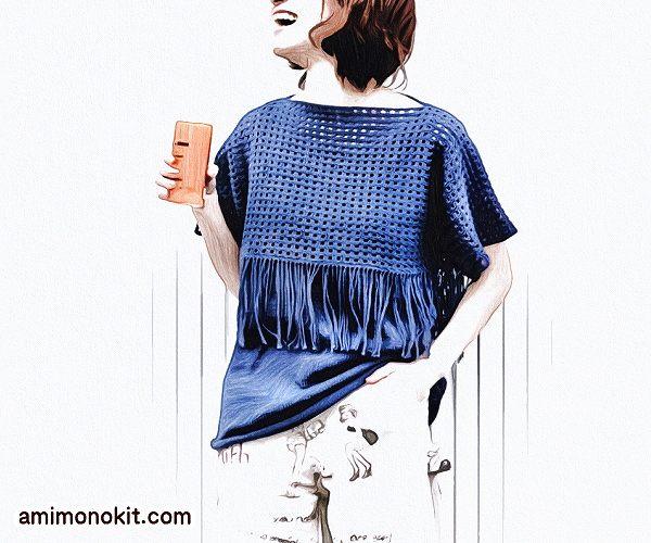 無料編み図プルタンクトップとフリンジセーターのセットアップ1