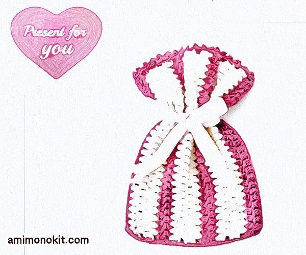 無料編み図ポーチ母の日プレゼント贈り物巾着かぎ針編み6