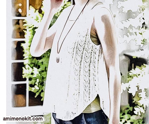 無料編み図タンクトップ棒針編み透かし模様リネン麻フレアー2
