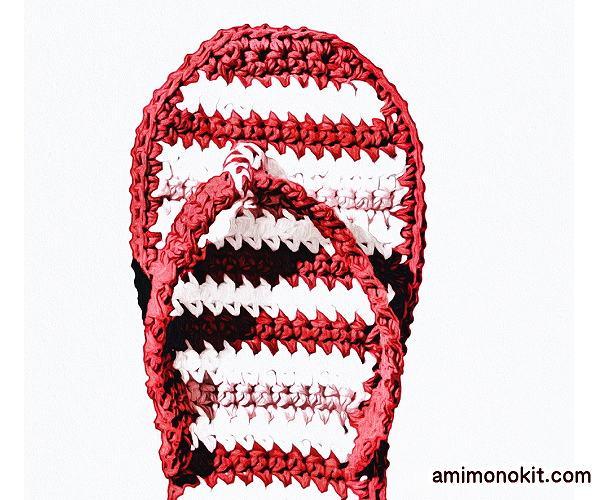 無料編み図スリッパかぎ針編みルームサンダル素足おうちグッズ2