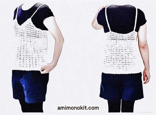 無料編み図キャミソールかぎ針編み可愛い重ね着手編み2