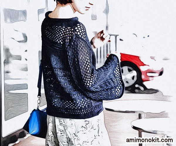 無料編み図プル透かし模様ワイドスリーブセーターゆったりサイズ4