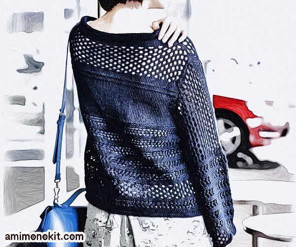 無料編み図プル透かし模様ワイドスリーブセーターゆったりサイズ2