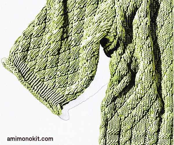 無料編み図メンズ棒針編みサマーセーター大人男子4