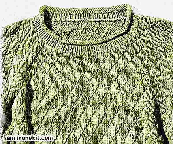 無料編み図メンズ棒針編みサマーセーター大人男子2