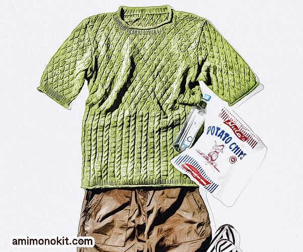 無料編み図メンズ棒針編みサマーセーター大人男子3