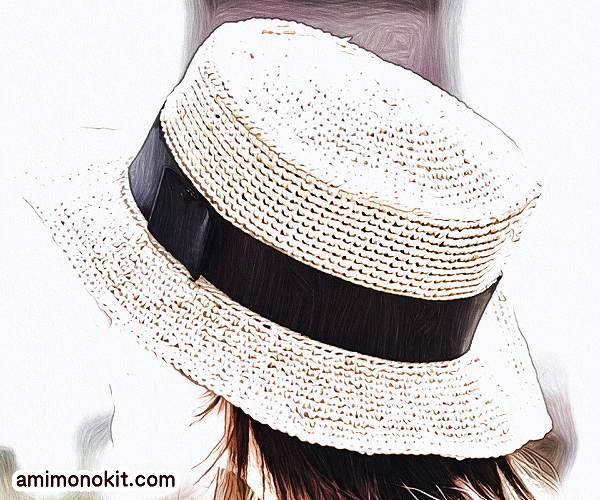 無料編み図帽子カンカン帽かぎ針編みストローハット大人シック2
