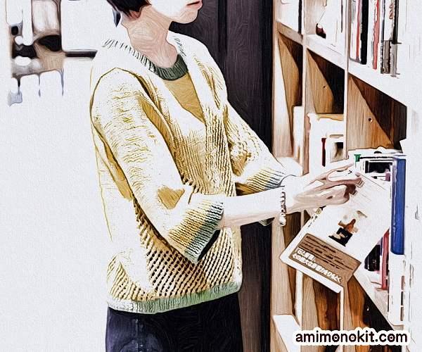 無料編み図プル棒針編みサマーセーターひし型模様バイカラー1