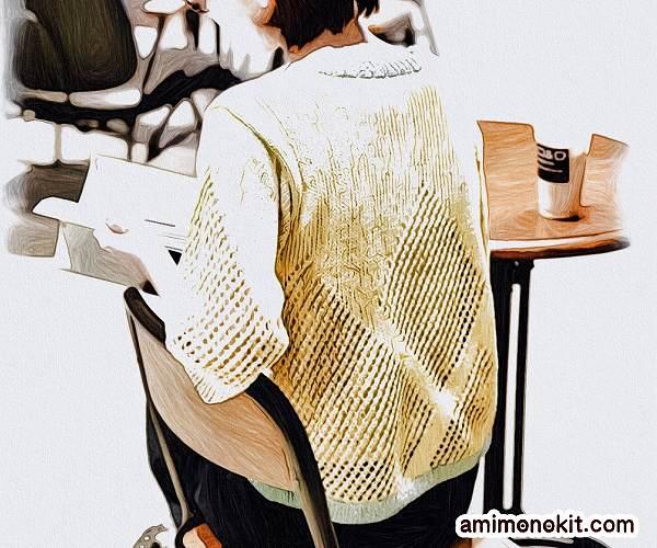 無料編み図プル棒針編みサマーセーターひし型模様バイカラー2