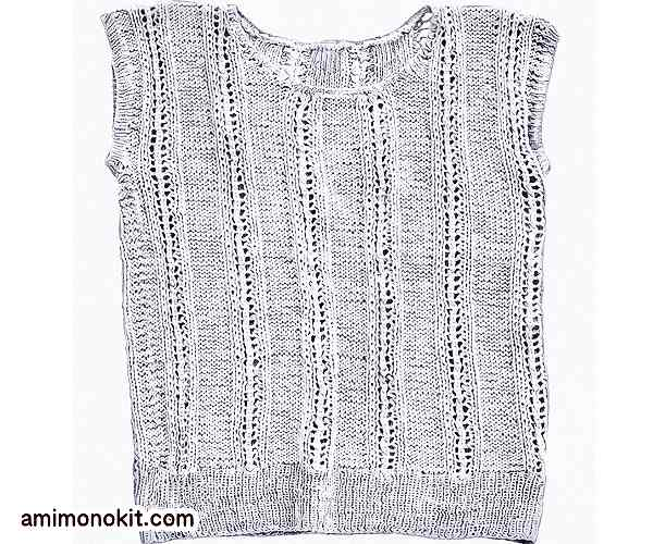 無料編み図サマーセーター棒針編みフレンチスリーブ3