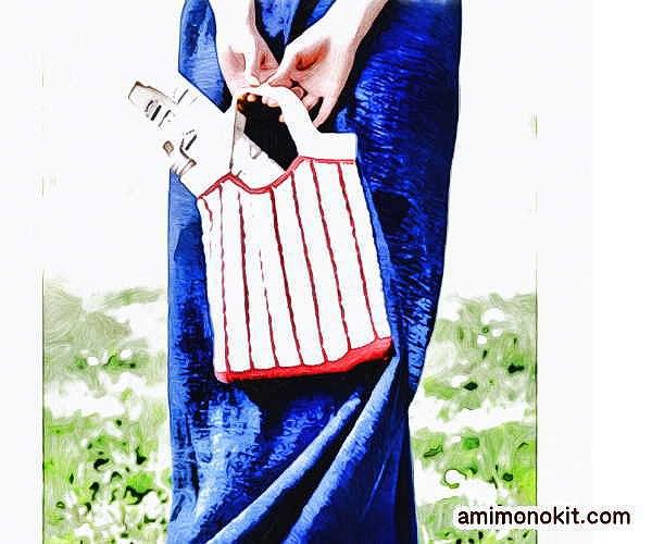 無料編み図バッグかぎ針編み小さめエコバッグ女子手提げ愛らしい1