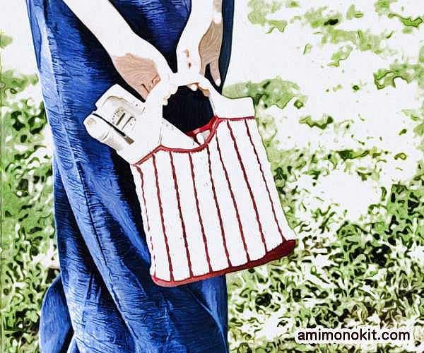 無料編み図バッグかぎ針編み小さめエコバッグ女子手提げ愛らしい4