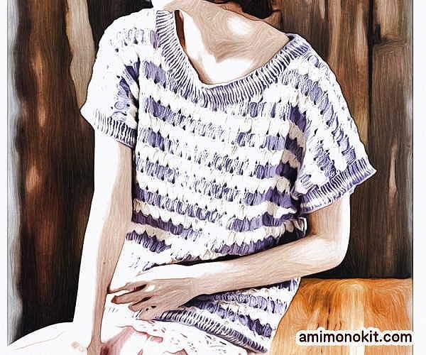 無料編み図半そでサマーセーター綿コットン並太かぎ針編み愛らしいカジュアル3
