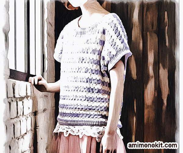 無料編み図半そでサマーセーター綿コットン並太かぎ針編み愛らしいカジュアル4