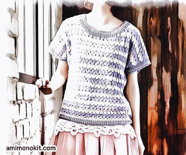 無料編み図半そでサマーセーター綿コットン並太かぎ針編み愛らしいカジュアル1
