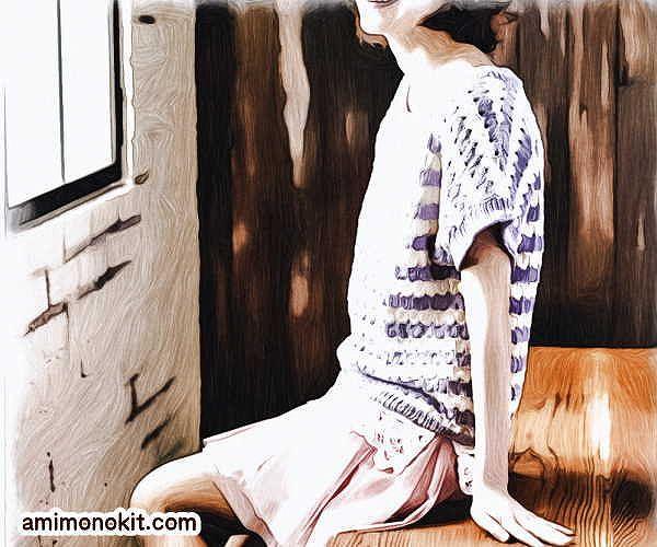 無料編み図半そでサマーセーター綿コットン並太かぎ針編み愛らしいカジュアル2