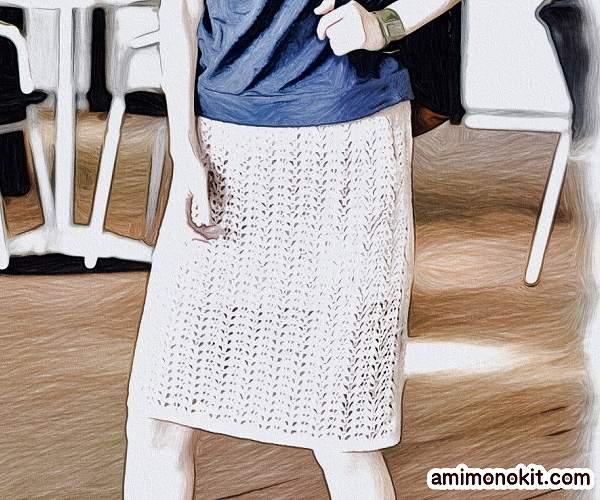 無料編み図スカートかぎ針編みレース透かし模様のタイトスカート1